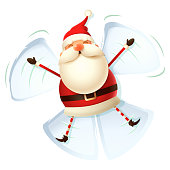Santa Claus make angel in snow - white background