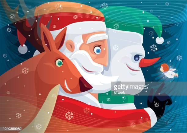 illustrations, cliparts, dessins animés et icônes de santa claus rencontrer des amis - cupidon humour