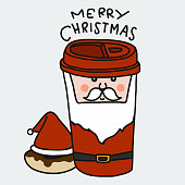 Santa Claus Merry Christmas coffee cup and donut cartoon vector illustration doodle style