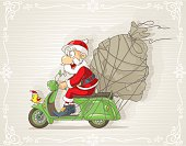 Santa Claus on a Scooter with Gift Bag Vector Cartoon
