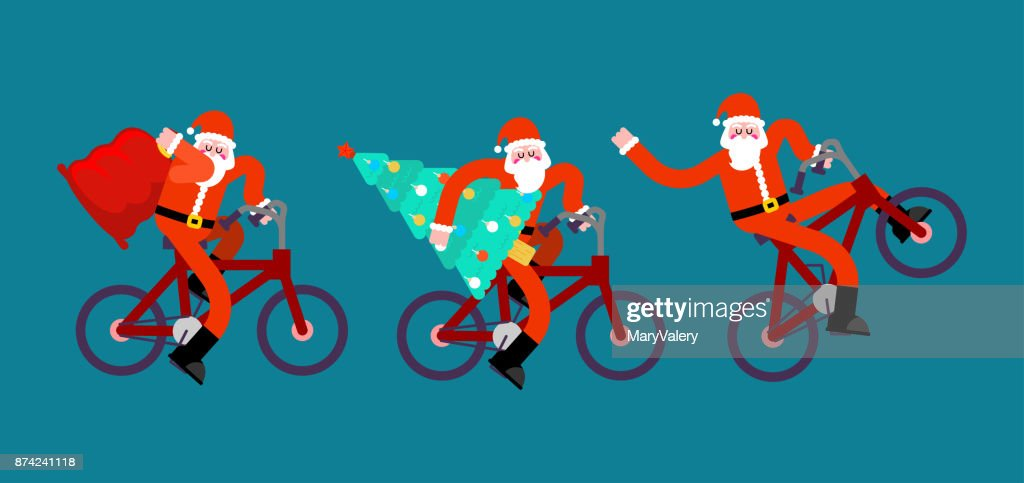 Santa Claus on bicycle set. Red bag and Christma tree. Happy New Year. Xmas BMX vector illustration