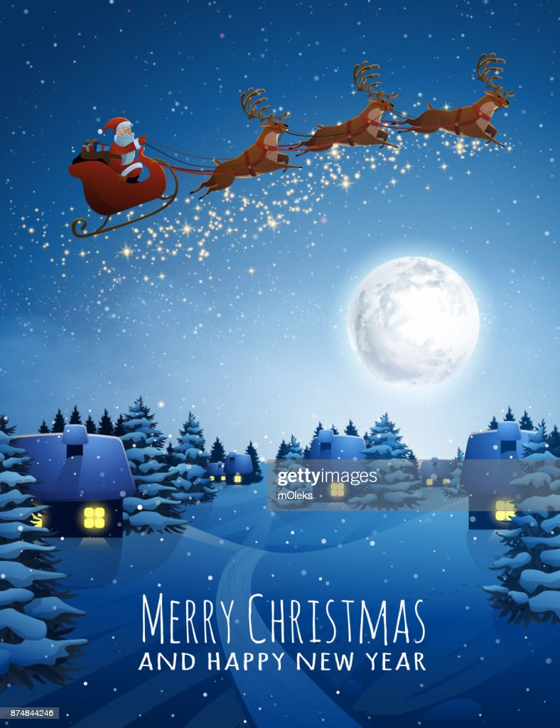 Santa Claus on deer Flying Sleigh with reindeers. Christmas Landscape snow Fir Tree at Night and Big Moon. Concept for Greeting or Postal Card. Background Vector Illustration in Cartoon Style