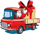 Santa Claus on red truck delivers gifts.