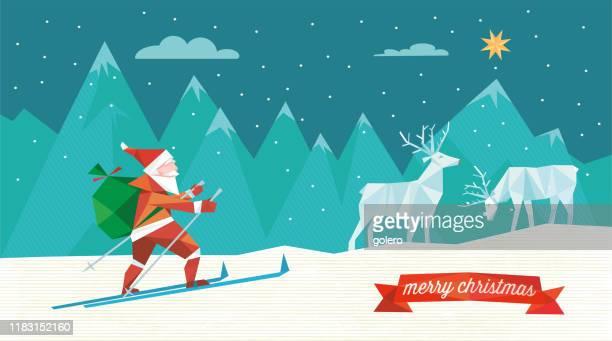 illustrations, cliparts, dessins animés et icônes de santa claus sur le ski dans le paysage d'hiver - ski humour