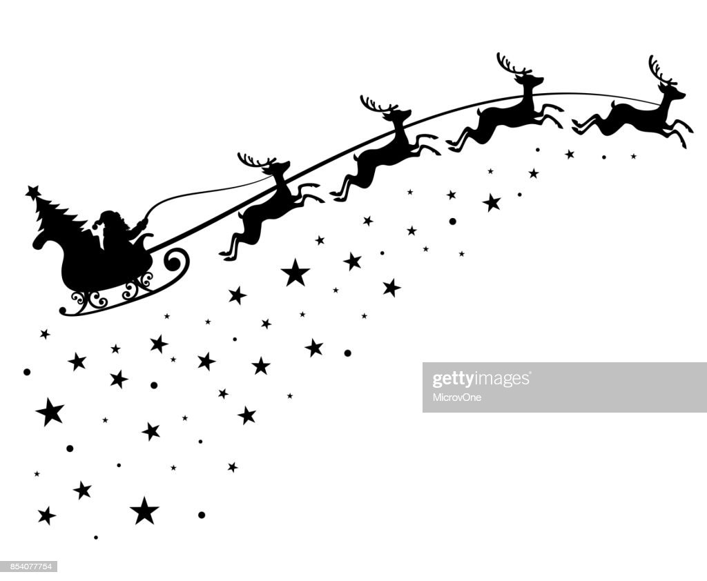 Santa Claus on sleigh flying sky with deers black vector silhouette for winter holiday decoration and Christmas greeting card