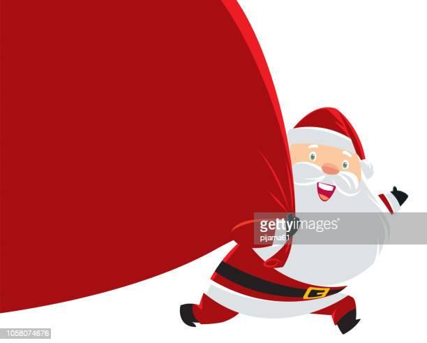 サンタ クロースの贈り物の巨大な袋を引っ張って - 布の袋点のイラスト素材/クリップアート素材/マンガ素材/アイコン素材