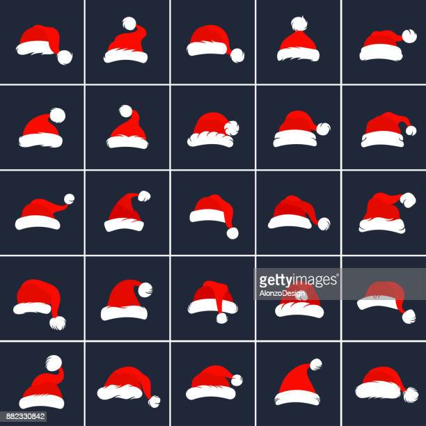 santa claus red hats - hat stock illustrations