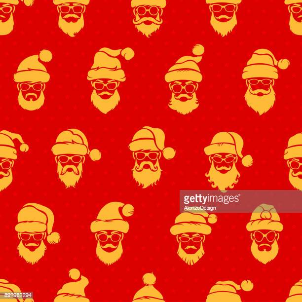 santa claus red seamless pattern - christmas travel stock illustrations, clip art, cartoons, & icons