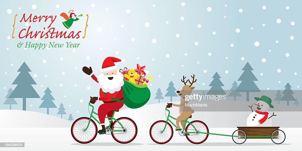 Santa Claus, Reindeer, Snowman Cycling Bicycles