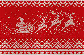 Santa Claus Rides Reindeer Sleigh Silhouette. Christmas Seamless Knitted Pattern. Knitting Wool Sweater Design