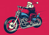 Santa claus riding motorcycle