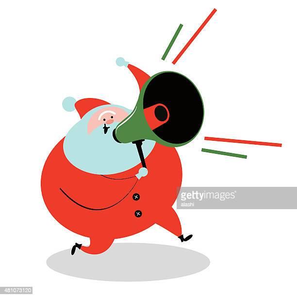 Santa Claus running and holding Megaphone