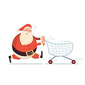 Santa Claus running hard with shopping cart and getting tired