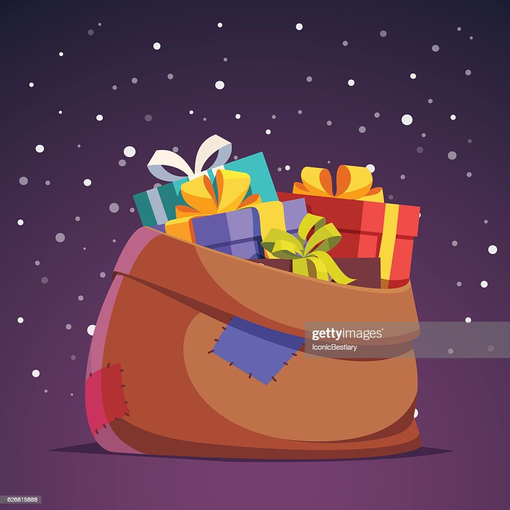 Santa Claus sack full of gift and present boxes