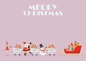Santa claus Santa girl and Snowman push a shopping cart to sleigh
