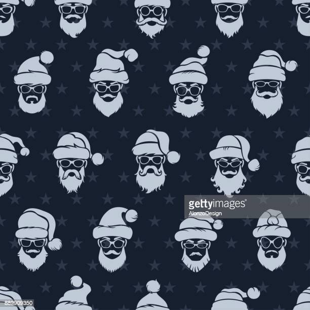 santa claus seamless pattern - christmas travel stock illustrations, clip art, cartoons, & icons