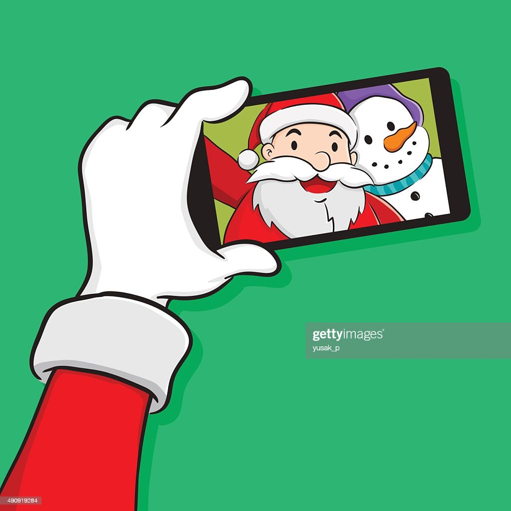 Santa Claus Selfie With Snowman