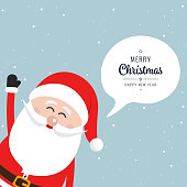 Santa claus side wave merry christmas speech bubble snow background