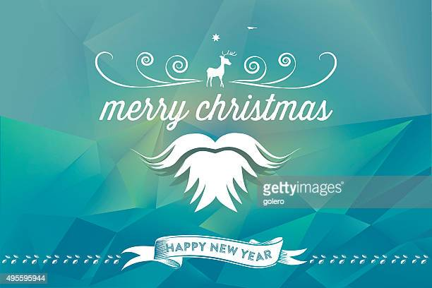 santa claus sign on abstract blue polygonal landscape background