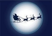 Santa Claus silhouette with Reindeer and sled