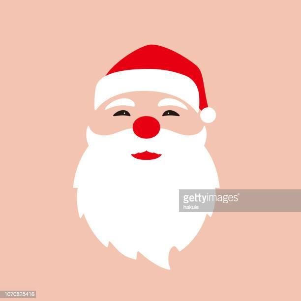santa claus, simple christmas element flat design, vector illustration - beard stock illustrations, clip art, cartoons, & icons