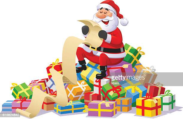 Santa Claus Sitting On A Pile of Christmas Presents