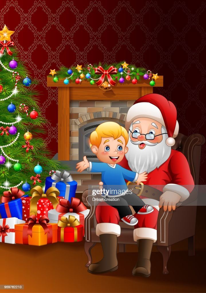 Santa Claus sitting with a little cute boy over Christmas background
