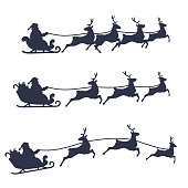 Santa Claus Sleigh and Reindeer set, black and white vector illustration.