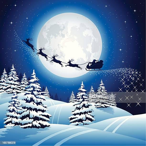 santa claus sleigh on the sky - sleigh stock illustrations