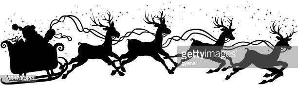 santa claus sleigh silhouette - panoramic stock illustrations, clip art, cartoons, & icons