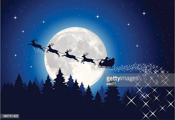 サンタクロースのそりの夜 - サンタ ソリ点のイラスト素材/クリップアート素材/マンガ素材/アイコン素材