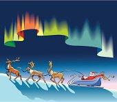 Santa Claus sleighing under northern lights