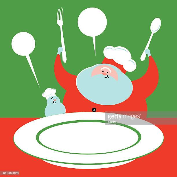Santa Claus snowman cook chef with fork, spoon, food plate
