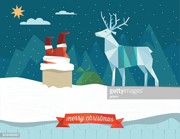 santa claus stacking in the chimney with reindeer on roof