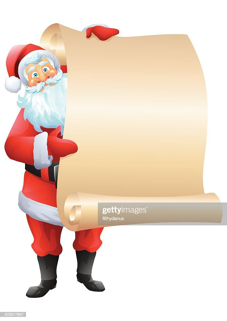Santa claus standing and holding wishlist isolated