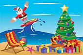 Santa Claus surfing xmas time