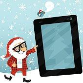 Santa Claus tablet bluebird geek internet christmas social media