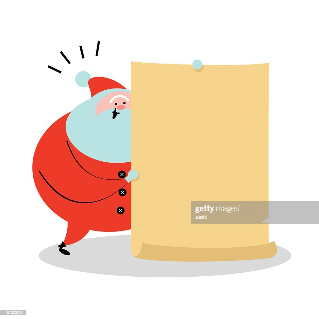santa claus talking holding a blank sign with arms raised vector art