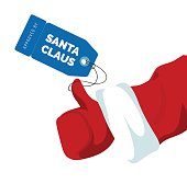 Santa Claus Thumbs up approval sign with price tag.