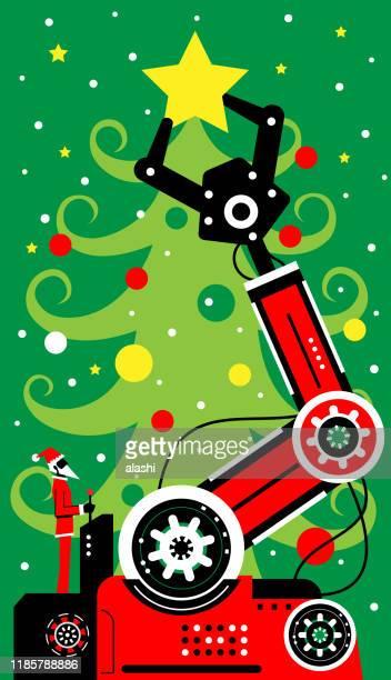 星でクリスマスツリーを飾るためにロボットアームを操作するためにジョイスティックを使用してサンタクロース - クリスマスマーケット点のイラスト素材/クリップアート素材/マンガ素材/アイコン素材