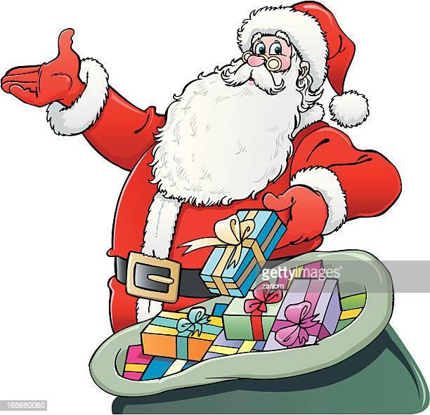 santa claus - sac stock illustrations, clip art, cartoons, & icons