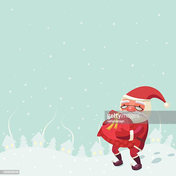 santa claus with a bag of gifts. - sac stock illustrations, clip art, cartoons, & icons
