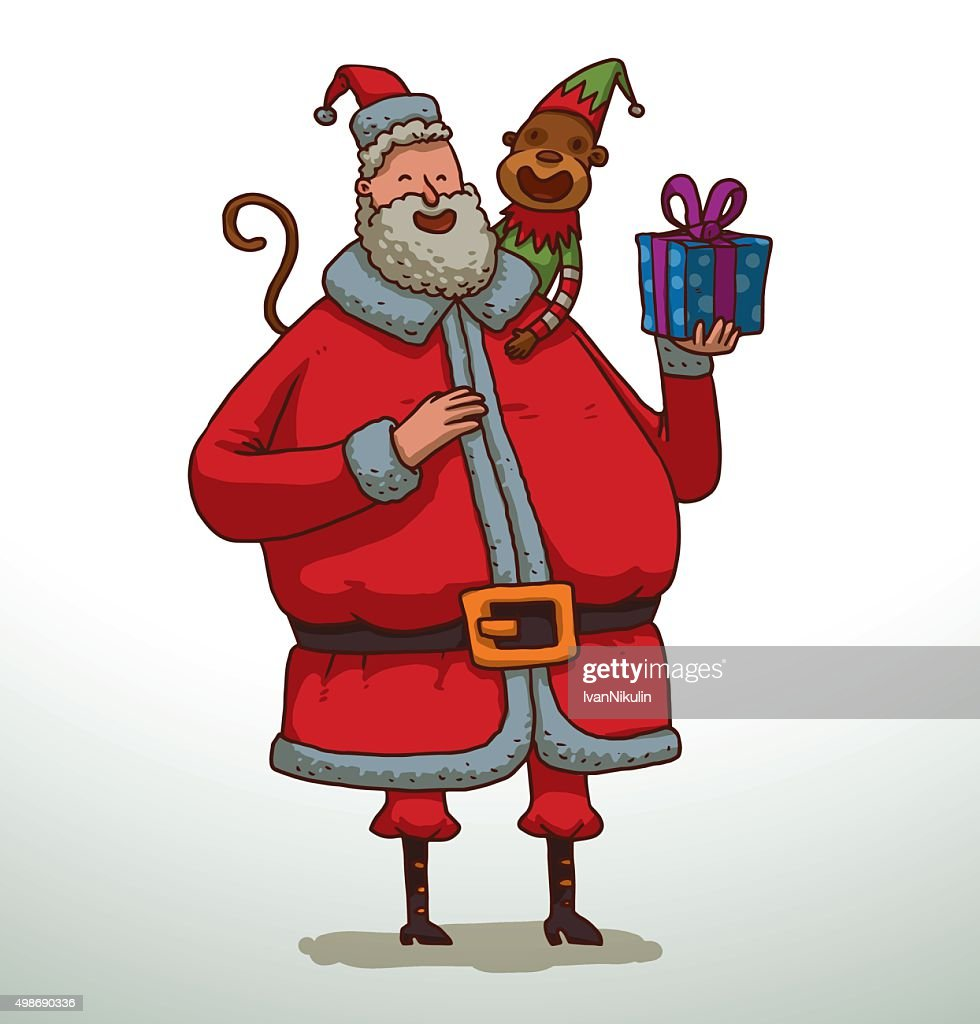 Santa Claus with a monkey and gift