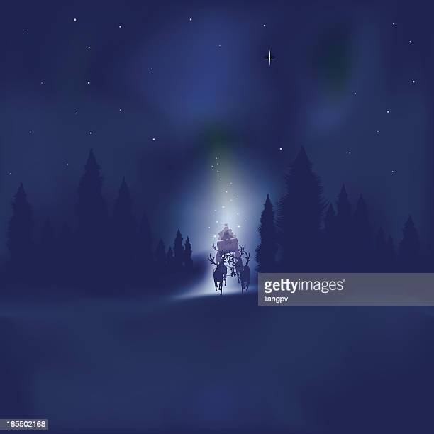 santa claus with aurora borealis in sky - aurora borealis stock illustrations