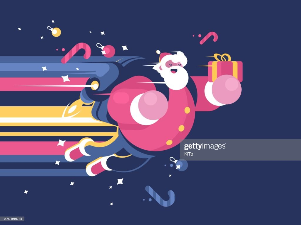Santa Claus with bag of gifts flying
