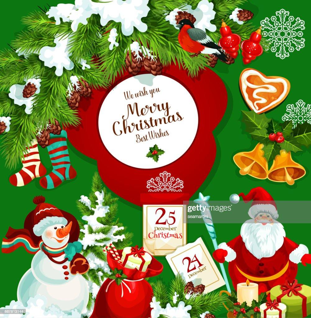 Santa Claus Weihnachten Geschenk Gruß Plakat Vektorgrafik   Getty Images