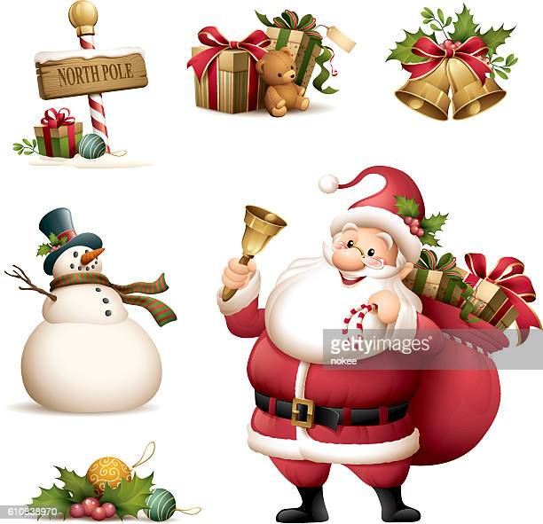 ilustraciones, imágenes clip art, dibujos animados e iconos de stock de santa claus with christmas icon set - santa claus