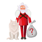 Santa Claus with dog isolated in white background. Secret Santa holding a bag with gifts.