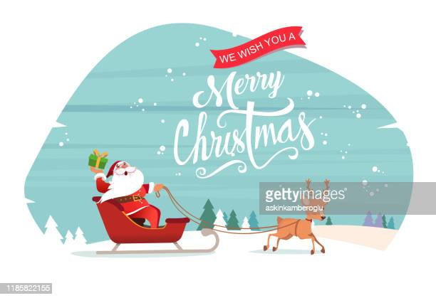 santa claus with reindeer - santa claus stock illustrations