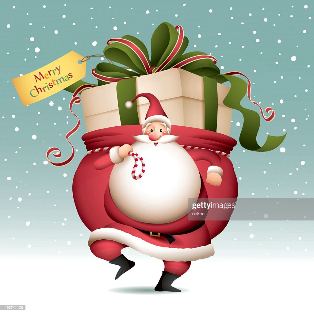 Santa Claus with sack full of big gift